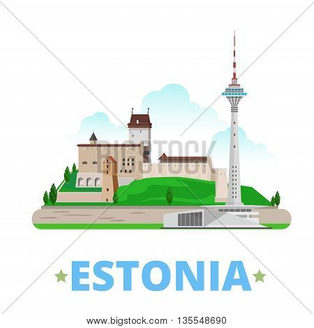 Estonia country magnet design template. Flat cartoon style historic sight showplace web site vector illustration. World vacation travel Europe European collection. Tallinn TV Tower Hermann Castle. poster