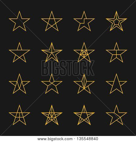 Stars vector. Modern thin line icons set of geometric stars. Five-pointed geometric star stroke gold color on a black background isolated.