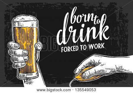 Male hands holding a beer glass and computer mouse. Vintage vector engraving illustration for web poster invitation to invitation to party and birthday. Isolated on dark background