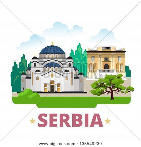 Serbia country design template Flat cartoon style web vector