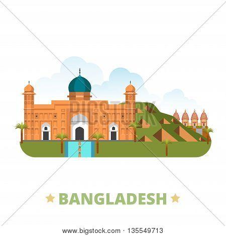 Bangladesh country design template Flat cartoon style web vector