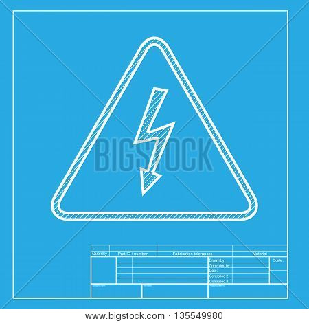 High voltage danger sign. White section of icon on blueprint template.