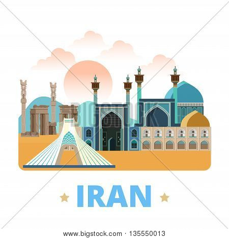 Iran country design template Flat cartoon style web vector