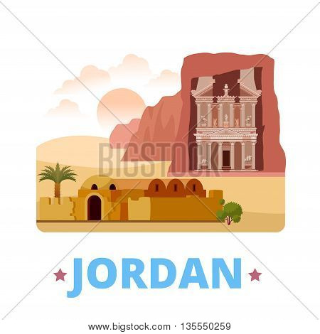 Jordan country design template Flat cartoon style web vector