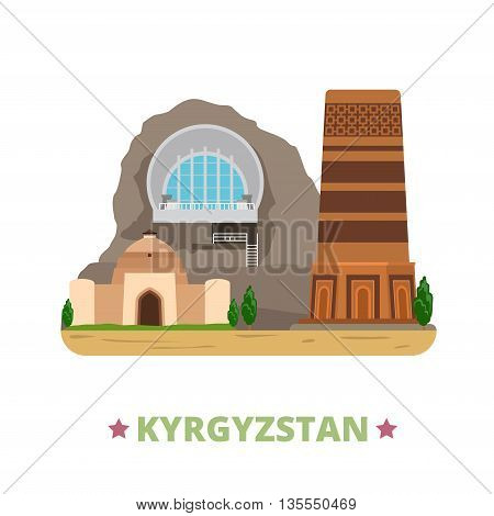 Kyrgyzstan country design template Flat cartoon style web vector