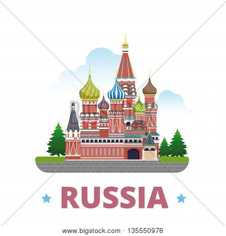 Russia country design template Flat cartoon style web vector