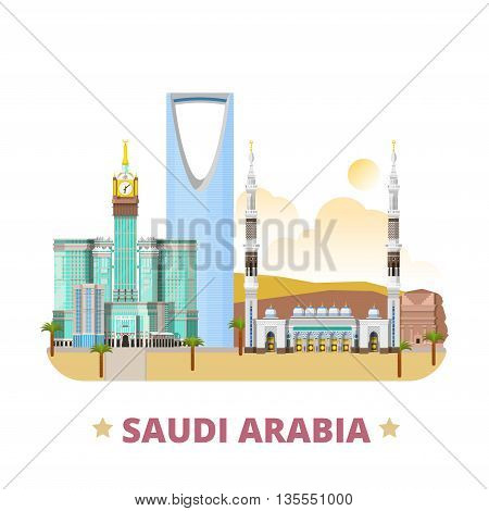 Saudi Arabia country design template Flat cartoon style vector