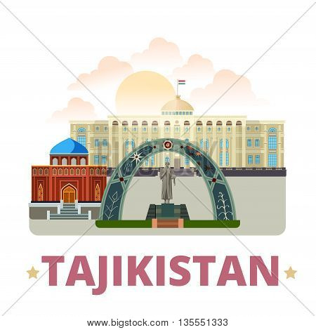 Tajikistan country design template Flat cartoon style web vector