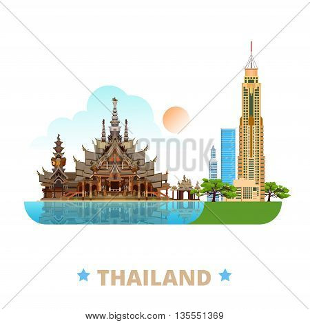 Thailand country design template Flat cartoon style web vector