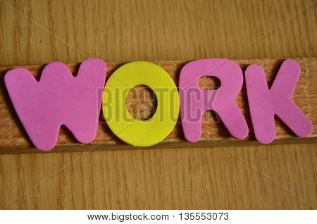 word work on a  abstract colorful backgroundf