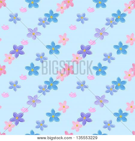 Floral seamless pattern with forget-me-not.  Diagonal rows of flowers. Forget me not flowers.
