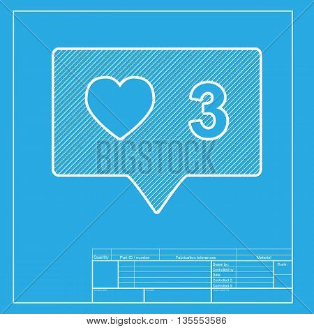 Like and comment sign. White section of icon on blueprint template. poster
