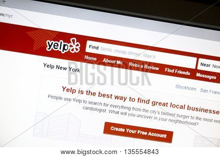 Ostersund, Sweden - June 23, 2016: Yelp website on a computer screen. Yelp is an American multinational corporation which publish crowd-sourced reviews about local businesses.