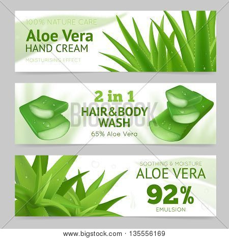 Horizontal sliced and whole aloe vera leaves banners presenting natural hand cream hair and body wash and emulsion