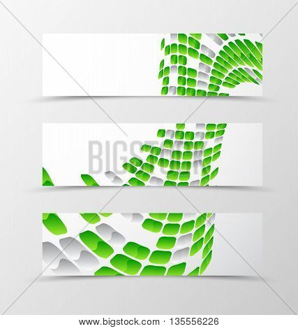 Set of banner wave design. Light banner for header with green and gray mottled rounded squares. Design of banner in geometric style. Vector illustration