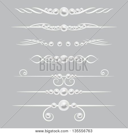 Pearl dividers page decor vector set. Border or divider decoration with pearl. Royal element pearl illustration