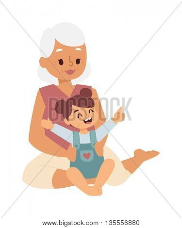 Granny and girl playing vector illustration.
