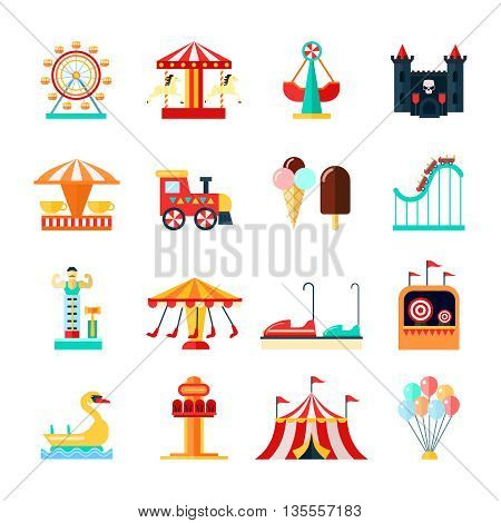 Amusement park for children with attractions icons set flat isolated vector illustration