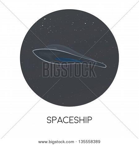 Spaceship. The futuristic design of the spaceship, ufo. Vector illustration.