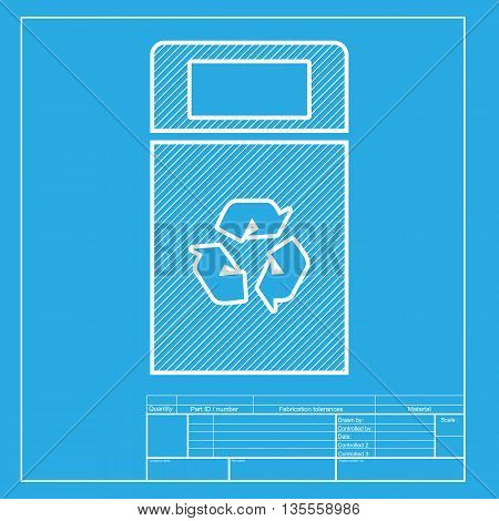 Trashcan sign illustration. White section of icon on blueprint template.