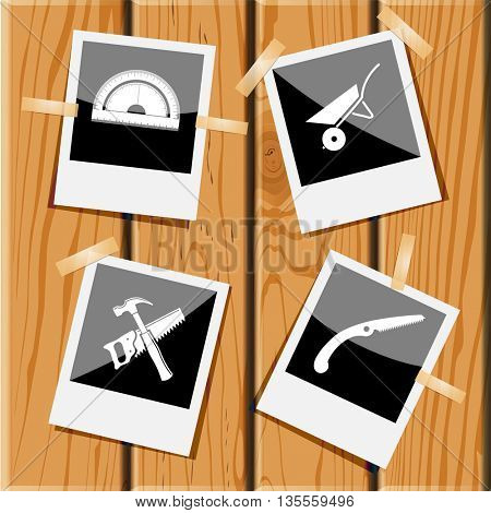 protractor, wheelbarrow, hand saw and hammer. Industrial tools set. Photo frames on wooden desk. Vector icons.