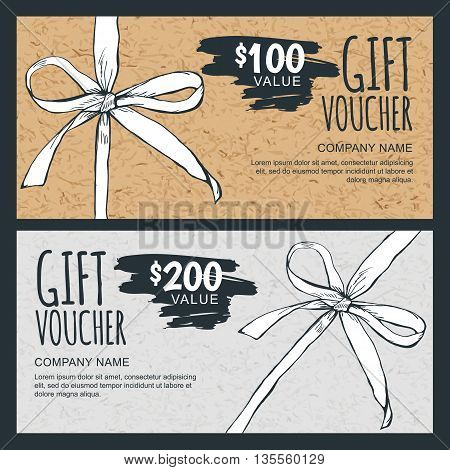 Vector Gift Voucher Template With Hand Drawn Bow Ribbon And Craft Paper Texture. Vintage Cardboard H