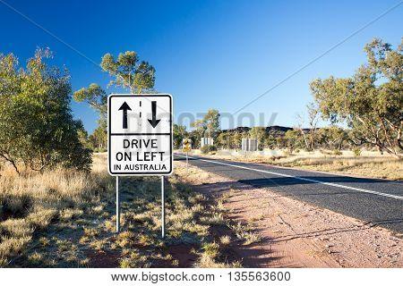 A tourist warning road sign on Larapinta Drive in Northern Territory, Australia