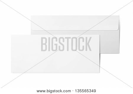 Blank white paper envelopes. template. Two envelopes on white background. Back and front. Isolated with clipping path.