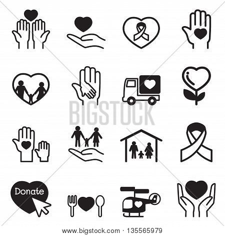 Charity icons Set Vector illustration Graphic design