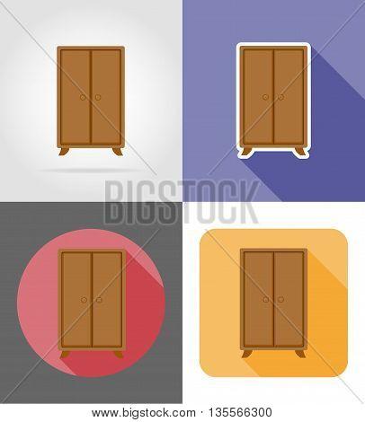 wardrobe furniture set flat icons vector illustration isolated on white background