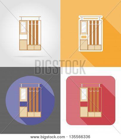 furniture hall set flat icons vector illustration isolated on white background