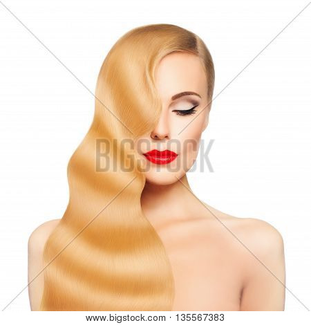 Spa Woman. Blond Hair Girl Isolated on White. Healthy Skin and Hair.