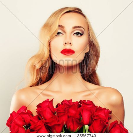 Spa Woman with Roses Flowers. Beauty Treatment Skin Care and Spa Concept