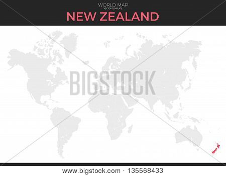 New Zealand location modern detailed vector map. All world countries without names. Vector template of beautiful flat grayscale map design with selected country and border location