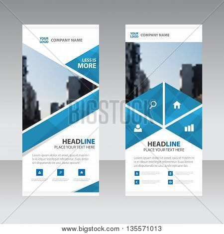 Blue polygon triangle Business Roll Up Banner flat design template Abstract Geometric banner template Vector illustration set abstract presentation template