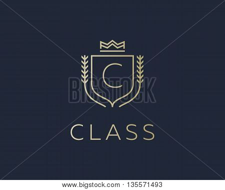 Premium monogram letter C initials ornate signature logotype. Elegant crest logo icon vector design. Luxury shield crown sign