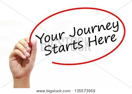 Man Hand writing Your Journey Starts Here with marker on transparent wipe board. Business internet technology concept.