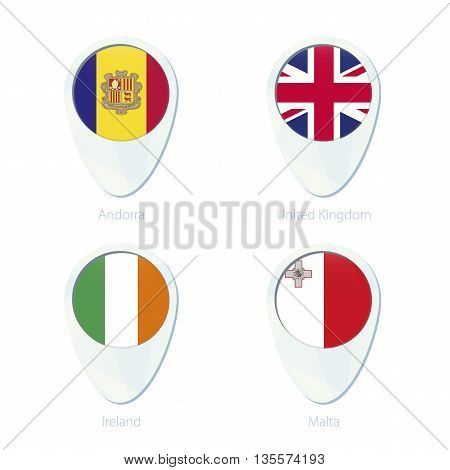Andorra, United Kingdom, Ireland, Malta Flag Location Map Pin Icon.