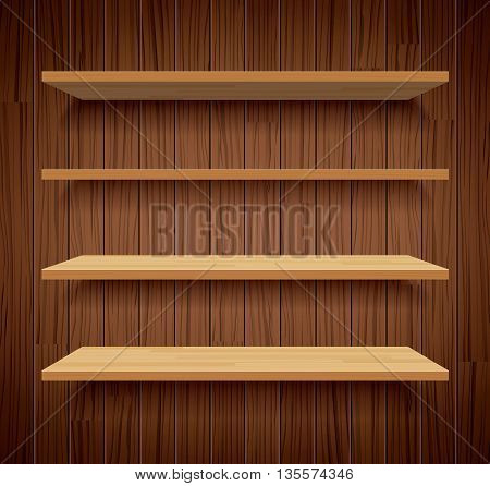 wood bookshelves on brown wood wall background flat design