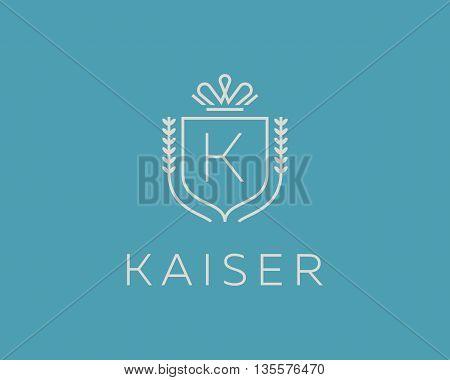 Elegant monogram letter K logotype. Premium crest logo design. Shield, royal crown symbol. Print, t-shirt design shape