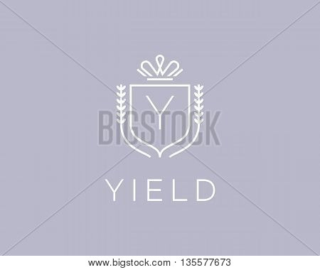Elegant monogram letter Y logotype. Premium crest logo design. Shield, royal crown symbol. Print, t-shirt design shape