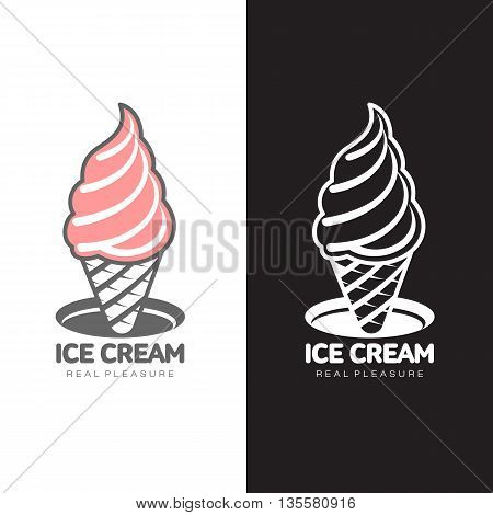 pink ice cream logo, vector simple illustration isolated on white background, sweet ice cream brand and logo for your businesses looking logo fast food and ice cream for cafes