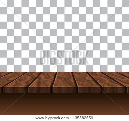 Empty wooden tabletop of brown color near grey white wall with checkerboard pattern vector illustration