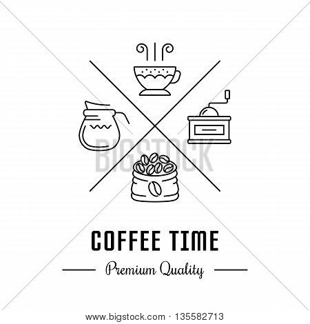 Vector logo coffee with cup bag beans milk and coffee grinder. Hipster logo label or banner coffee time for cafe bar banners and coffee shop.