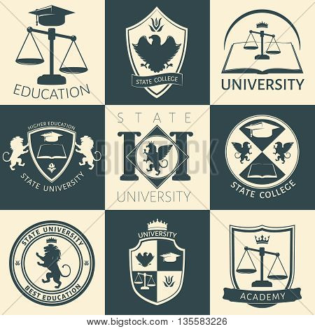 University heraldry vintage stickers with eagle lion flower crown book scales academic cap isolated vector illustration