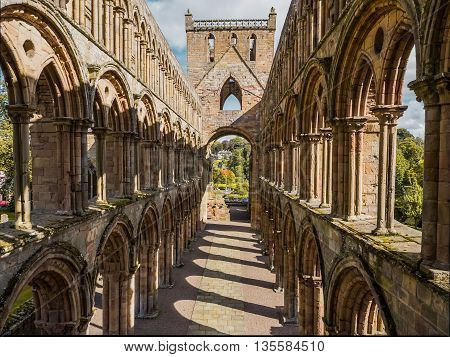Top view on the ruins of Jedburgh Abbey in the Scottisch Borders region in Scotland