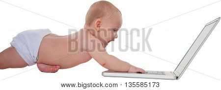 Panoramic shot of cute baby boy using laptop Toddler is playing with wireless technology He is lying isolated over white background