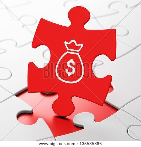 Money concept: Money Bag on Red puzzle pieces background, 3D rendering
