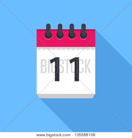 Calendar icon. Flat Design vector icon. Calendar on blue background. 11 day