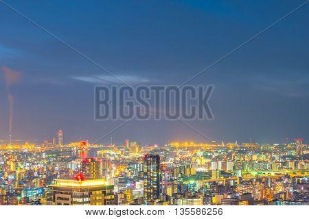 OSAKA, JAPAN - November  30, 2015 : Osaka city view from Umeda sky building, Osaka. View from the top at twilight in Japan
